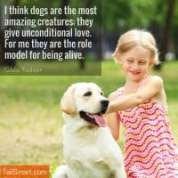 I think dogs are the most amazing creatures; they give unconditional love. For me they are the role model for being alive. Gilda Radnor